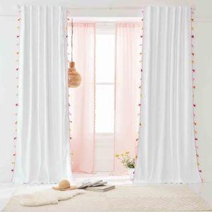 Pottery Barn Teen Pink Tassle Blackout Curtains